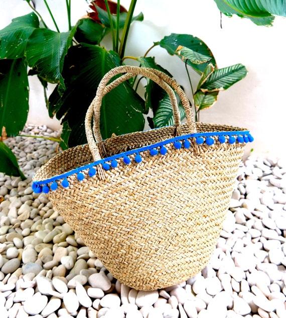 Chic pom trimmed beach bag