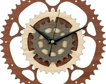 Gears Clock in wood / Bike Clock / Bicycle Clock / Motorcycle Clock