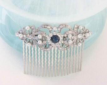 pearl hair comb,montana blue hair comb,bridal hair comb,wedding hair comb,wedding hair accessories,art deco hair comb,wedding comb,hair comb