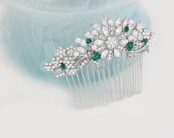 Emerald Hair Comb,Bridal Hair Comb,Green Bridal Sash,Emerald Wedding Jewelry,Green Bridal Jewelry,Wedding,Green Wedding Sash,Green Hair Comb