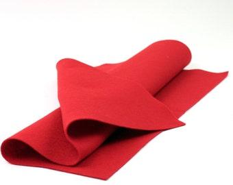 "Red 100% Merino Wool Felt 18"" x 18"""