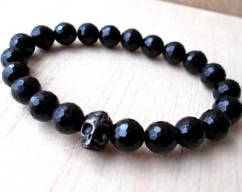 Black Skull Bracelet, Black Tourmaline Bracelet, Gemstone Bracelet, Men Skull Jewelry, Cool Mens Gift, Fathers Day Gift - XtraClaire