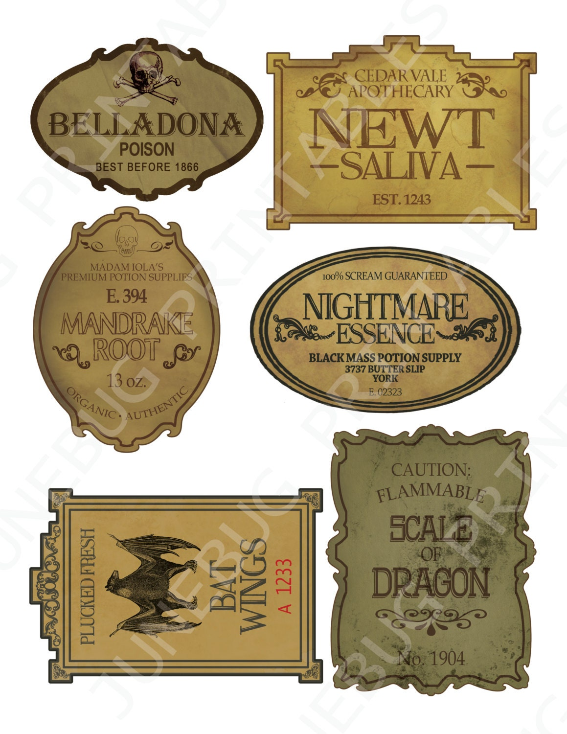 This is a picture of Accomplished Printable Potion Labels