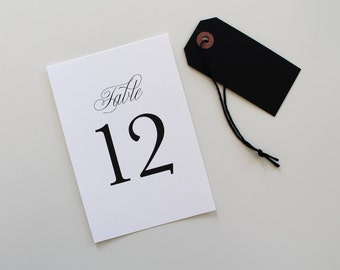 Traditional Wedding Table Numbers | Classic Table Number, Script Wedding Table Number, Wedding Reception Table Number, Simple Table Number