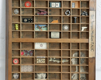 Lovely Vintage Wooden Printers Tray Letterpress Type Case Drawer (display case) including all the items shown