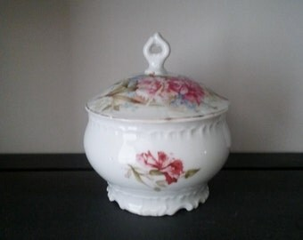 Antique Floral Sugar Bowl with Lid // Vintage Sugar Bowl // Floral Sugar Bowl