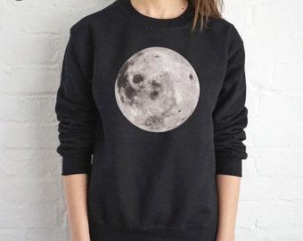 Full Moon Sweatshirt Sweater Jumper Top Fashion Grunge Space Alien Head