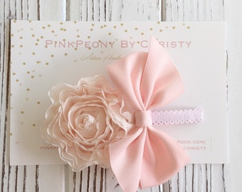 Blush pink peony flower with bow hairclip- flower hairclip- pink peony hairbow- peach pink blush hairbow - peachpuff flower hair bow