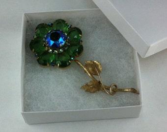 Large, vintage green and blue flower brooch