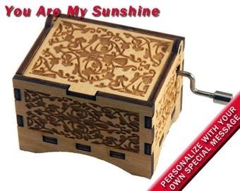 "Music Box, ""You Are My Sunshine"", Laser Engraved Wood Hand Crank Music Box"
