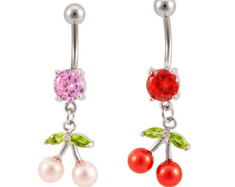 Sterling Silver pearl cherry naval rings