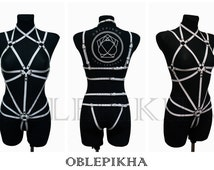 DISCOUNT 5%Fetish Body Cage,Fetish Harness,BDSM Harness,Submissive Harness,Leather Harness,Leather lingerie,Body Harness,Transformer Black