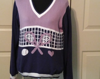 Tennis sweater, tennis racquets, colorful sweater, tennis chic, tennis theme, tennis top, tennis player