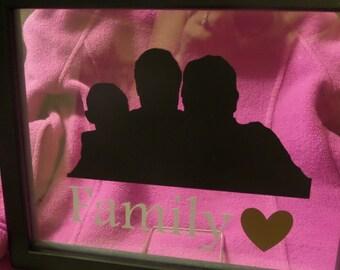 CUSTOM Family silhouette wall hanging
