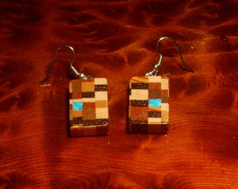 Modern Checkered wood earrings with turquoise