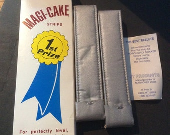 NEW in Box Magi-Cake Strips For Level Moist Cakes 2 Strips JT Products 1977 Prize Winning Cake Aluminized Fabric