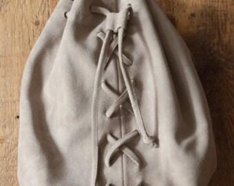 Suede Drawstring Handbag