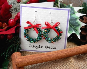 Tutorial and KIT for Kumihimo Christmas Wreath Earrings Beading Pattern AND materials