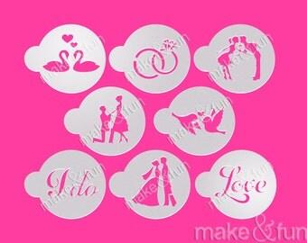 8 pcs Wedding stencil, Cake Stencil, Cookie Stencil, Kuchenschablone (Product Code LC025)