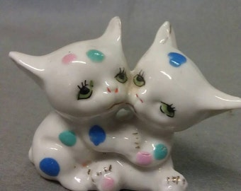 White Cats Kittens with  Blue  Green and Pink Dots Figurine