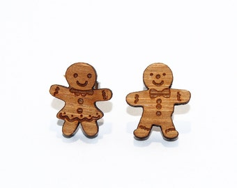Gingerbread Men Bamboo Stud Earrings, Gingerbread Earrings, Christmas Earrings, Festive Earrings, Wooden Earrings, Holiday Earrings