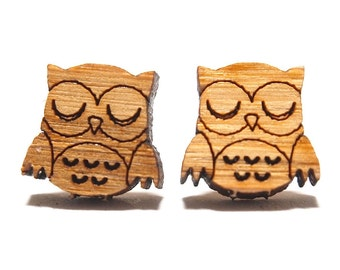 Sleepy Owl Bamboo Stud Earrings, Owl Stud Earrings, Owl Studs, Owl Earrings, Wooden Earrings, Quirky Earrings, Woodland Earrings