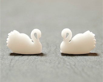 White Swan Stud Earrings, Swan Earrings, White Swans, Swan Jewellery, Mothers Day Gift, Gift for Her, Gift for Mum, Swan Studs, Elegant Gift