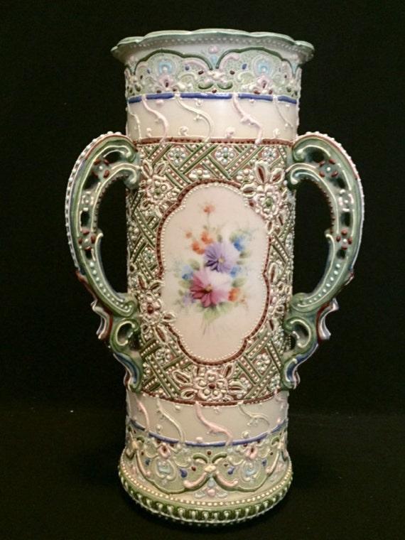 """FREE SHIPPING--Antique-19th Century-Large-11 3/4""""-Japanese-Satsuma-Moriage-3 Handled-Vase"""