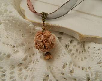 Antique Vintage Style Hand Sculpted Rose Ball Pendant on Organza Ribbon Necklace.