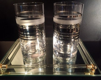 Silver Stripe Highball Glasses, Xtra Large, Set of Two, Mid Century Modern Mad Men Glassware