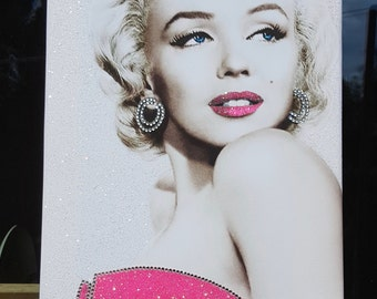 Stunning Marilyn Monroe Pink Sparkle Canvas Print, wall art. Any Size!