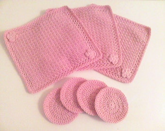 Crochet Cotton Spa Set Washcloths Face Scrubbies Personal Care Gifts For Her