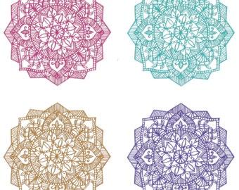 Multi-Colored Mandala Hand-Cut Paper Art - PRINT