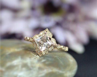 Unique Vintage Style Engagement Ring 7mm Princess Cut Natural VS Morganite Ring Solid 14K Rose Gold Ring Wedding Ring Anniversary Ring