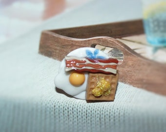 Handcrafted Novelty Breakfast Plate Waffle, Bacon & Egg Hat/Shirt/Lapel Pin - Blue Floral Design On Plate