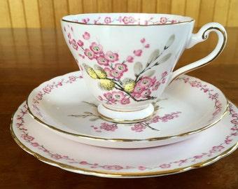 Tuscan Fine Bone China Trio,  Tuscon April Shower Trio,  Vintage High Tea,  Vintage Pink Trio