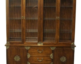 """THOMASVILLE Luminations 64"""" Asian Style Brass Accent Lighted China Cabinet 43421"""