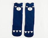 Fox sock-knee high socks-boot socks-girls socks-kids accessories-boys socks-baby leg warmers-blue socks-toddler socks-blue leg warmers