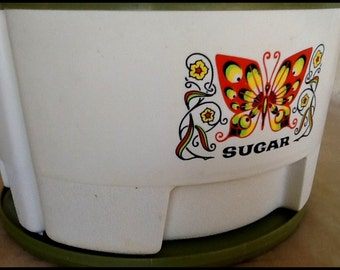 Vintage Rotating Butterfly Kitchen Cannister Set...Sterilite Mod Butterflies...Groovy Avocado Green