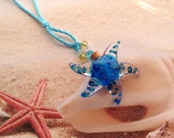 Nautical Sea Blue Starfish Essential Oil Perfume Bottle Murano Glass Adjustable Cord Beach Pendant Necklace Jewellery