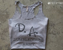 Dumbledore's Army - D.A - Harry Potter - tank top - tops and tees - Custom - Custom Made - Gift Idea - Gifts under 20