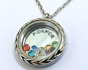 MORMOR - Braided V Edge or Custom Floating Charm Locket - Memory Locket - Custom Hand Stamped Gift for Mom or Grandma