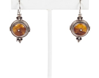 African Baltic and Cognac Amber Resin Earrings