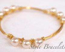 Bourbon Boweties INSPIRED Swarovski White Pearl Wire Bracelet | Wire Wrapped Bracelet | Wire Bangle | Wire Wrapped Bangle | Pearl Wire