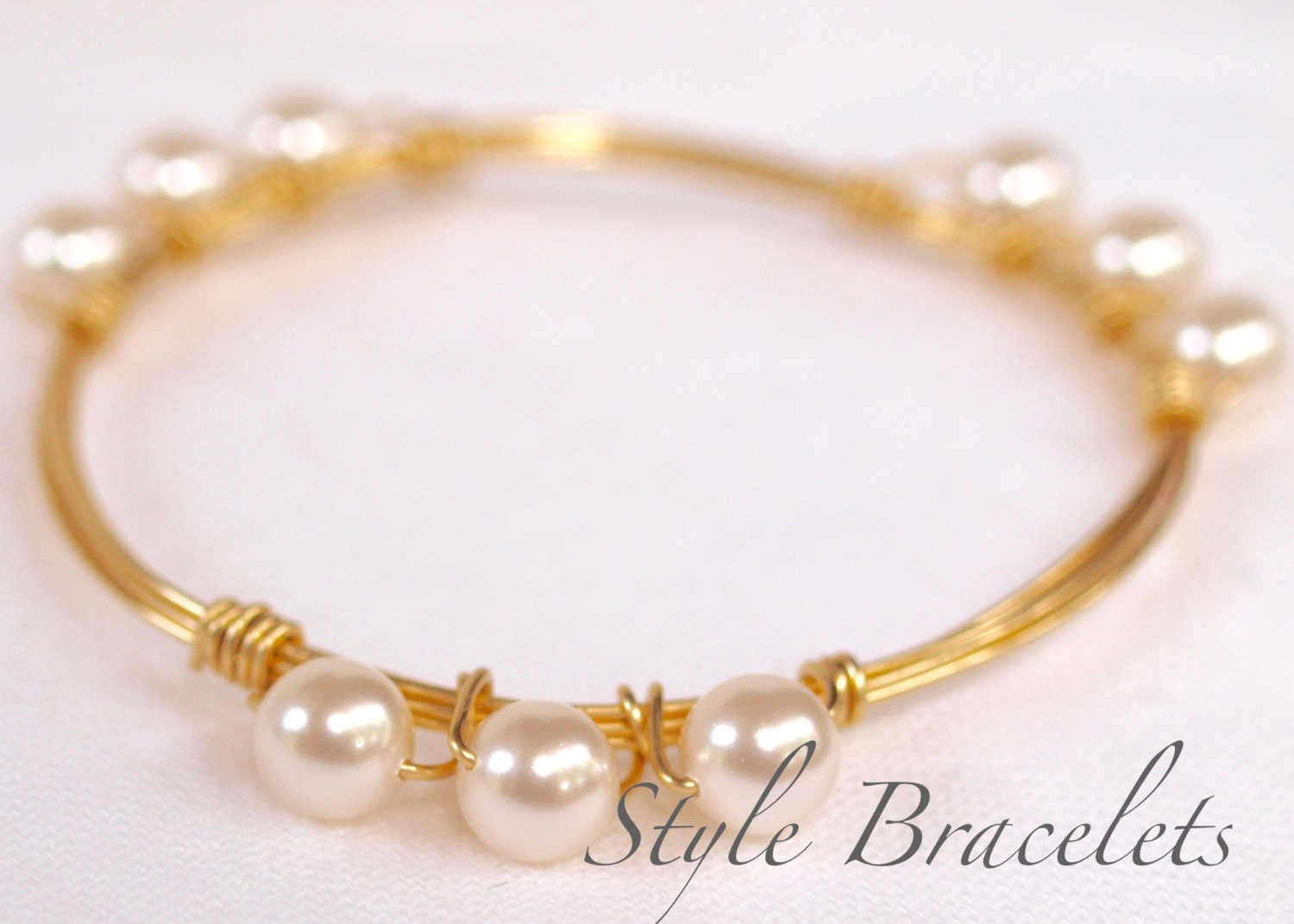 pearl wire wrapped bangle bracelet swarovski white pearl