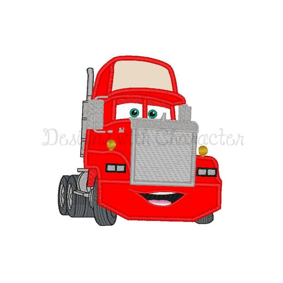 Red truck applique machine embroidery design 3 sizes