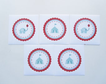 5 Vintage Circus Stickers