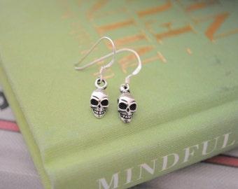 Sterling Silver Skull Cut Drop Earrings