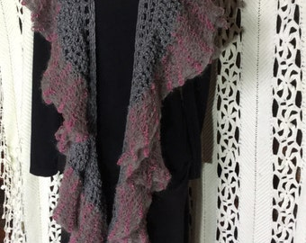 Hand crochet knitted long scarf