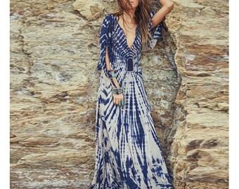 Beautiful Long Flowy Indigo Tie and  Dye Dress